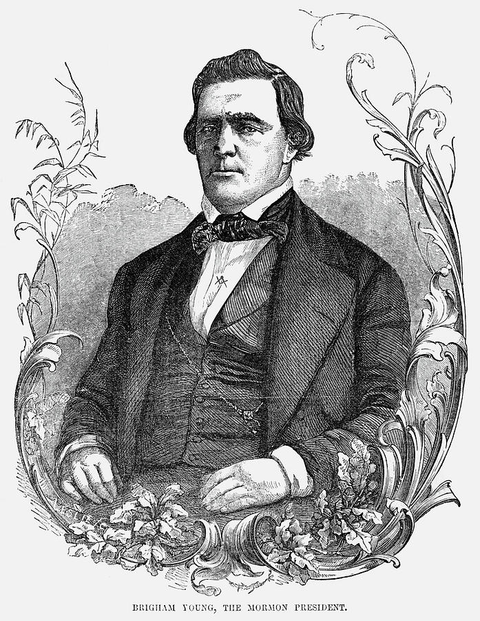 1855 Painting - Brigham Young (1801-1877) by Granger