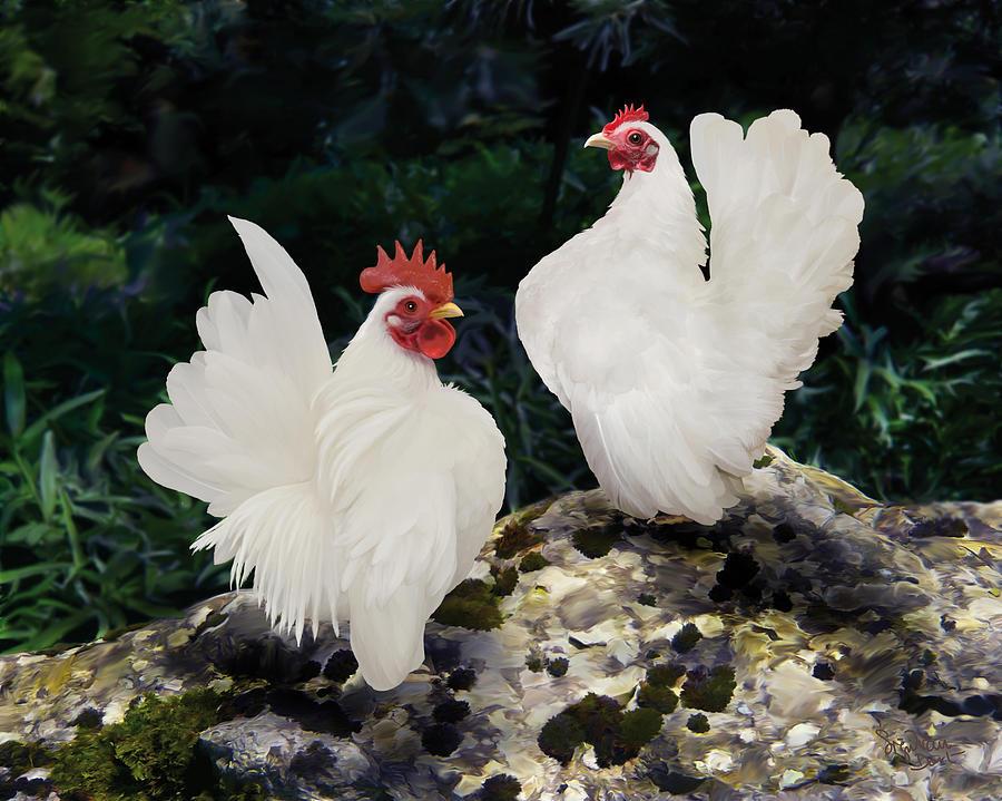 Chicken Digital Art - 23. Pair White Serama by Sigrid Van Dort
