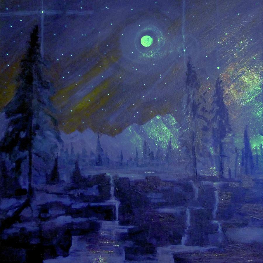 Moon Painting - Cosmic Light Series by Len Sodenkamp