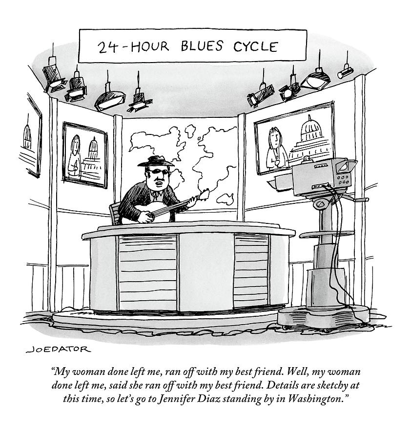 Well Drawing - 24-hour Blues Cycle by Joe Dator