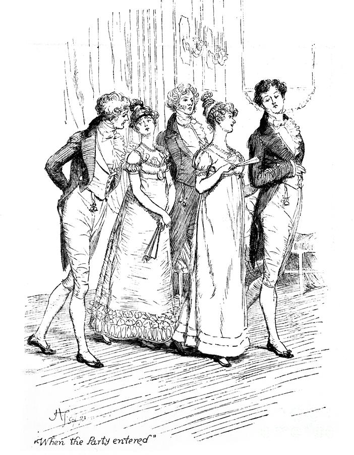 When The Party Entered; Illustration; Pride And Prejudice; Jane Austen; Edition; Illustrated; Austen's; Arrival; Mr; Bingley; Mr; Darcy; Caroline Bingley; Mr;hurst; Mrs; Hurst; Meryton; Dance; Assembly Rooms; Regency; Georgian; Ball; Costume; Empire-line Dress; Dresses; Snobs; Upper Class; Snobbish; Snobby; Snob; Sisters; Sister; Brother; Character Family; Ladies; Gentlemen Drawing - Scene From Pride And Prejudice By Jane Austen by Hugh Thomson