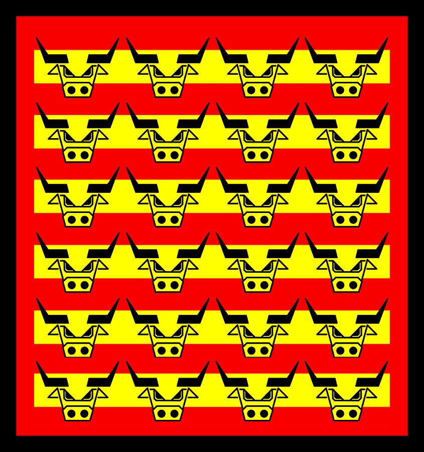 24 Spanish Bulls Digital Art - 24 Spanish Bulls by Asbjorn Lonvig