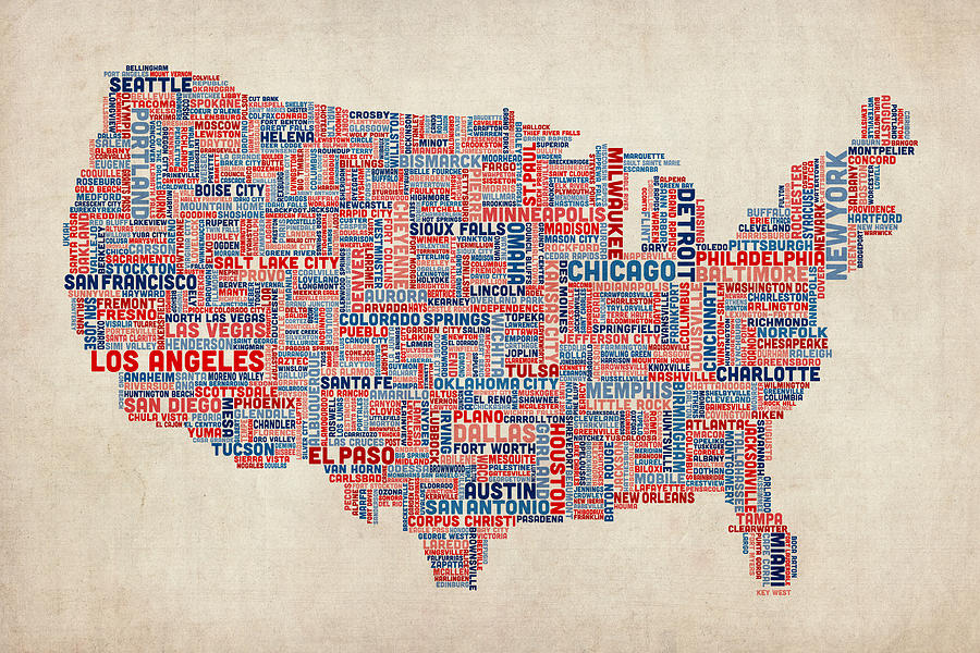 United States Map Digital Art United States Typography Text Map By Michael Tompsett