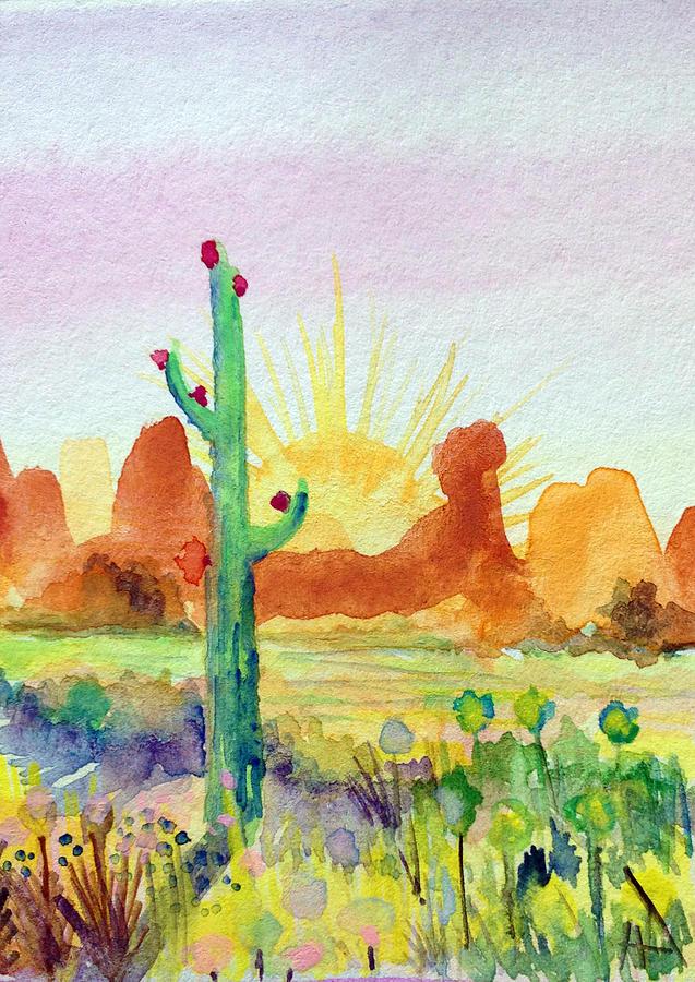 Saguaros Painting - Southwestern Landscape by Patricia Lazaro