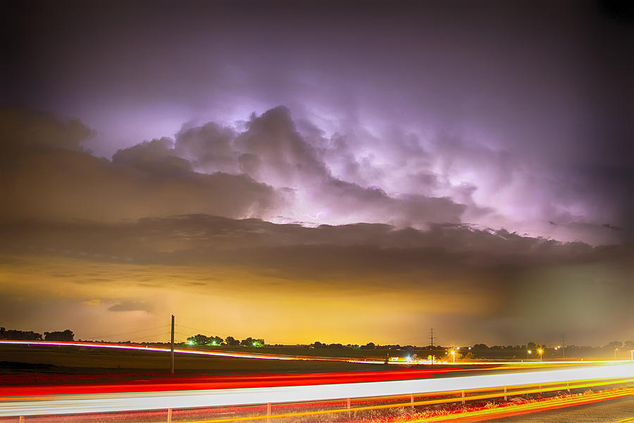 Intra-cloud Photograph - 25 To 34 Intra-cloud Lightning Golden Light Car Trails by James BO  Insogna