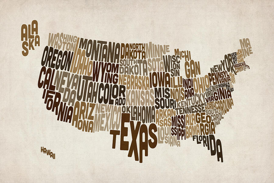 Usa Map Digital Art - United States Typography Text Map by Michael Tompsett
