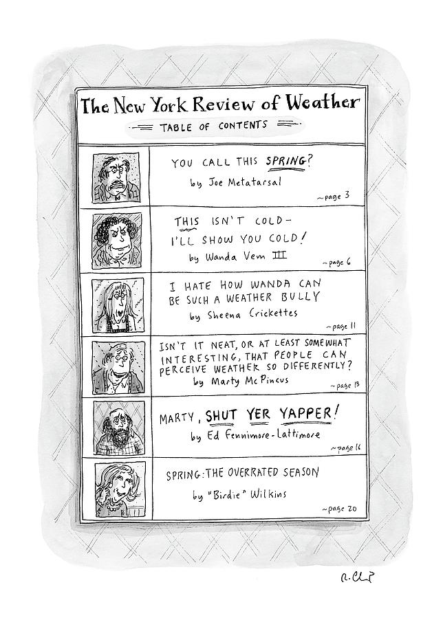 New Yorker April 11th, 2005 Drawing by Roz Chast