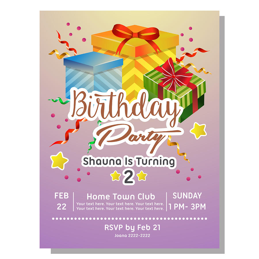2nd Birthday Party Invitation Card With Giftbox By Oncombuntung