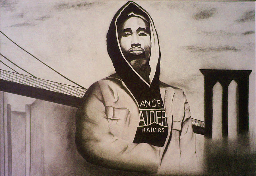 Scottish Artist Drawing - 2pac by Aileen Carruthers