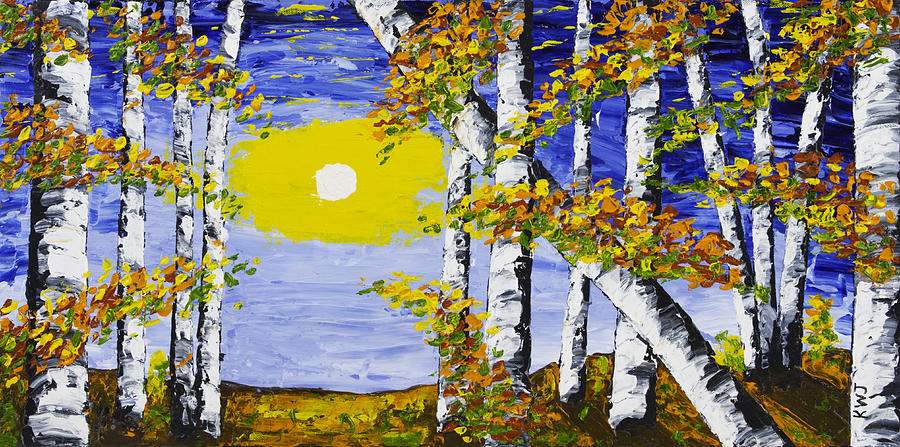 White Birch Trees In Fall Abstract Painting Painting by Keith Webber Jr
