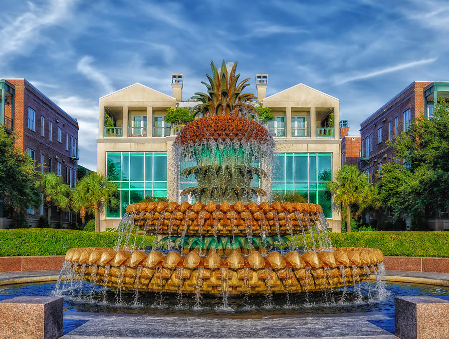 Architecture Photograph - Pineapple Fountain - Morning At Waterfront Park by Frank J Benz