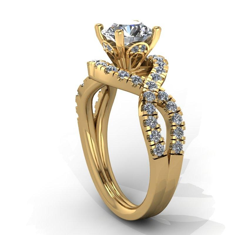 Yellow Gold Jewelry - 14k Yellow Gold Diamond Ring With Moissanite Center Stone by Eternity Collection