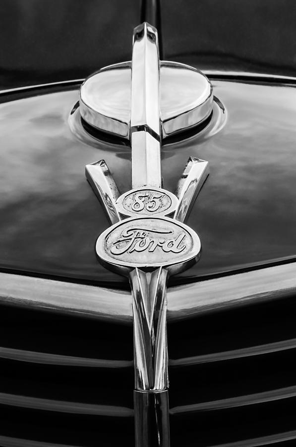 Bw Photograph - 1937 Ford Pickup Truck V8 Emblem by Jill Reger