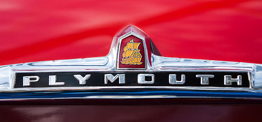 Classic Cars Photograph - 1949 Plymouth P-18 Special Deluxe Convertible Emblem by Jill Reger