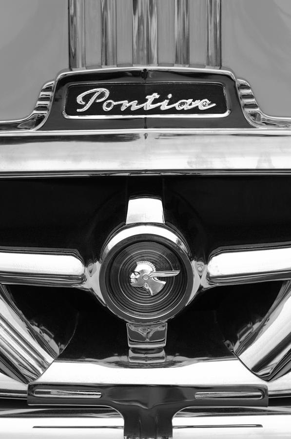 Black And White Photograph - 1951 Pontiac Streamliner Grille Emblem by Jill Reger