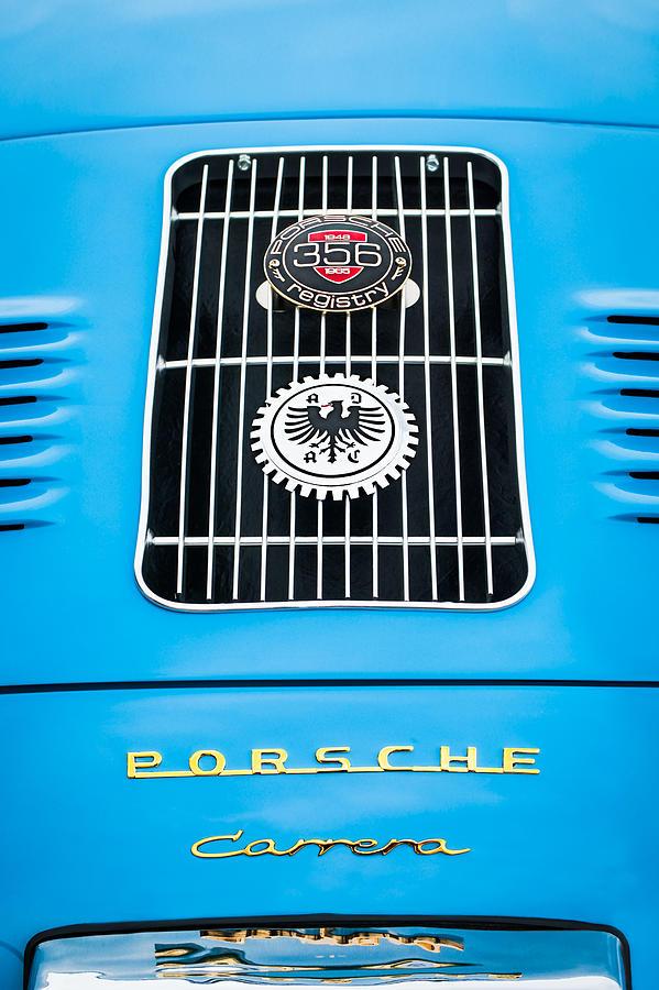 Sports Cars Photograph - 1960 Volkswagen Vw Porsche 356 Carrera Gs Gt Replica Emblem by Jill Reger