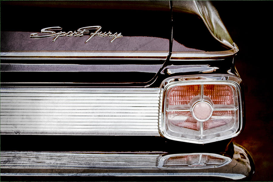 1963 Plymouth Taillight Emblem Photograph - 1963 Plymouth Sport Fury Taillight Emblem by Jill Reger