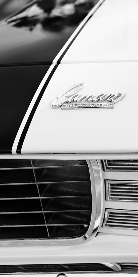 Bw Photograph - 1969 Chevrolet Camaro Rs-ss Indy Pace Car Replica Hood Emblem by Jill Reger