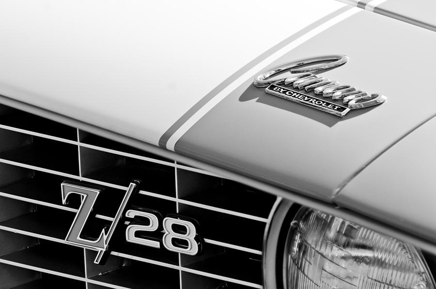 Muscle Car Photograph - 1969 Chevrolet Camaro Z-28 Emblem by Jill Reger