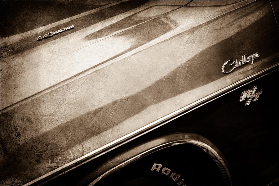 Muscle Cars Photograph - 1970 Dodge Challenger Rt Convertible Emblems by Jill Reger