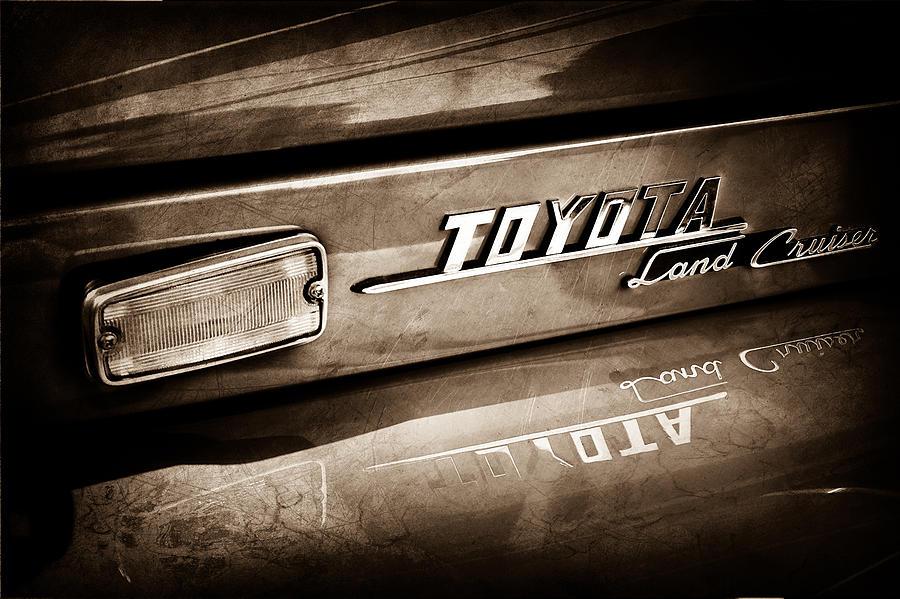 Classic Cars Photograph - 1970 Toyota Land Cruiser Fj40 Hardtop Emblem -0700s by Jill Reger