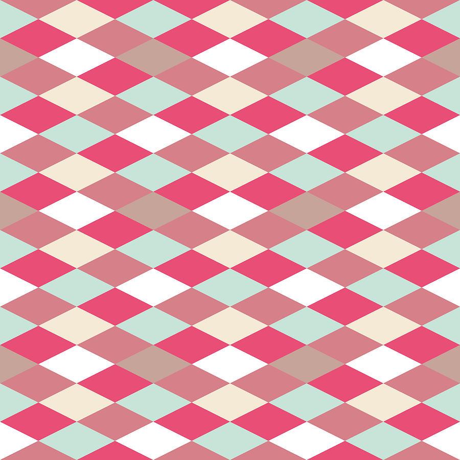 Abstract Retro Geometric Pattern Digital Art by Atthamee Ni