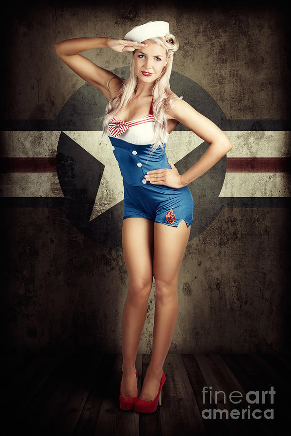 50s Photograph - American Fashion Model In Military Pin-up Style by Jorgo Photography - Wall Art Gallery