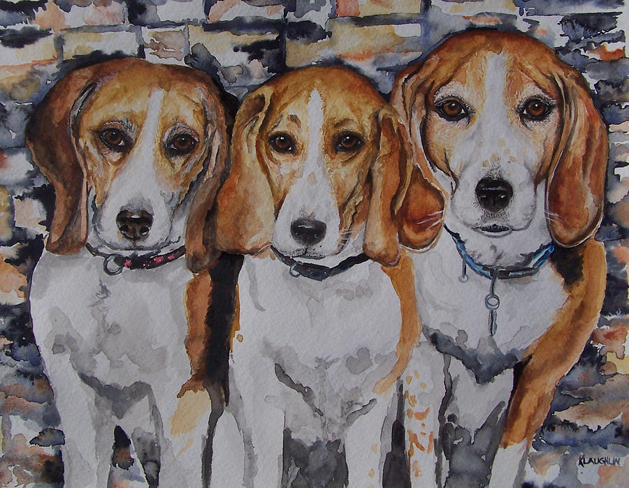 3 amigo beagles by Kathy Laughlin