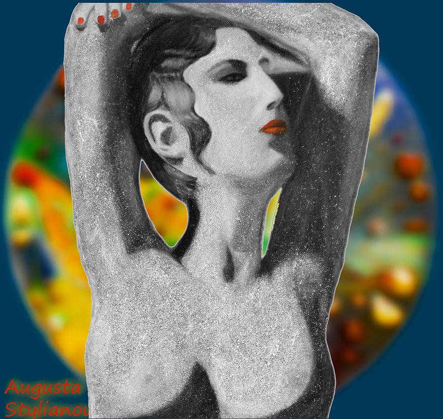 Modern Map Digital Art - Aphrodite And  Cyprus Map by Augusta Stylianou