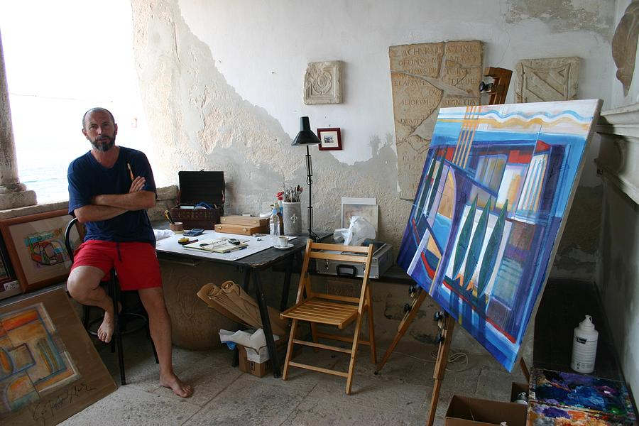 atelier u Rovinju Painting by Saso  Petrosevski Novak - SPN