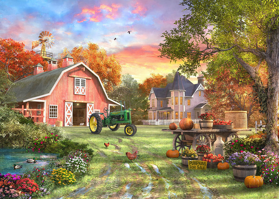 Autumn Farm Painting By Dominic Davison