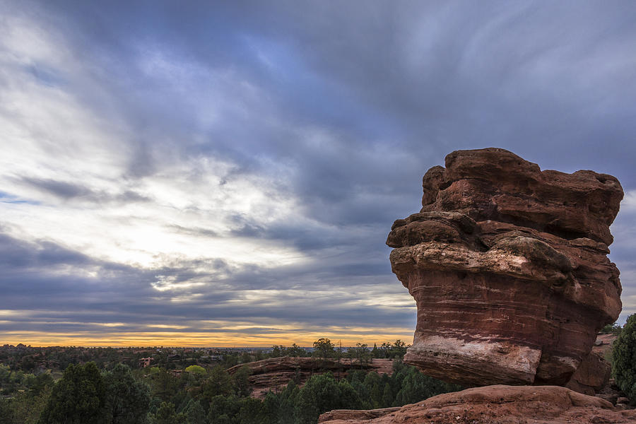 Balanced Rock At Sunrise Garden Of The Gods Colorado Springs