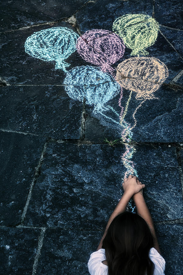 Girl Photograph - Balloons by Joana Kruse