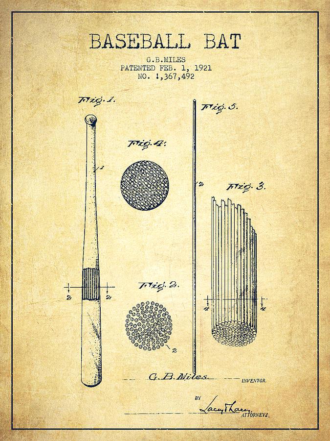 Baseball Bat Patent Drawing From 1921 Drawing