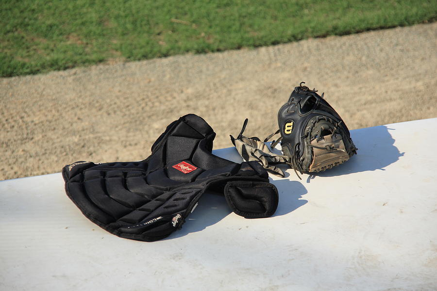 America Photograph - Baseball Glove And Chest Protector by Frank Romeo