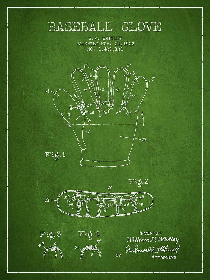 Baseball Glove Patent Drawing From 1922 Digital Art