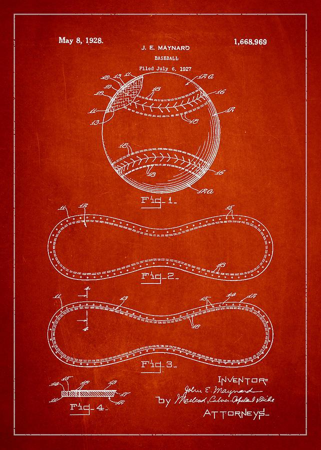 Baseball Patent Drawing From 1927 Digital Art