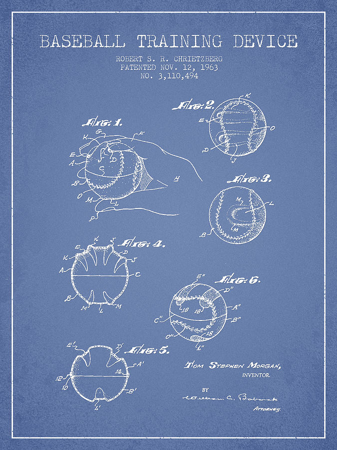 Baseball Patent Digital Art - Baseball Training Device Patent Drawing From 1963 by Aged Pixel