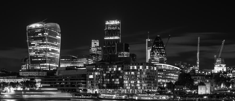 Beautiful Black And White Image Of London City At Night With Lov Photograph