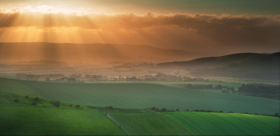 Landscape Photograph - Beautiful English Countryside Landscape Over Rolling Hills by Matthew Gibson