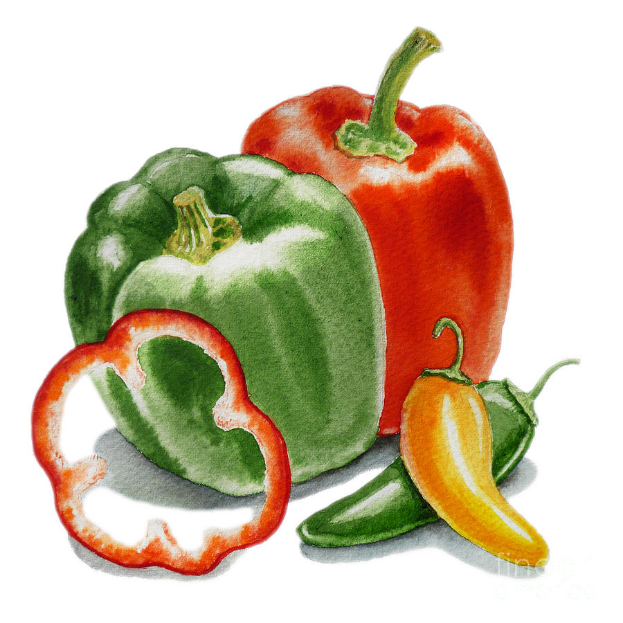 Pepper Painting - Bell Peppers Jalapeno  by Irina Sztukowski