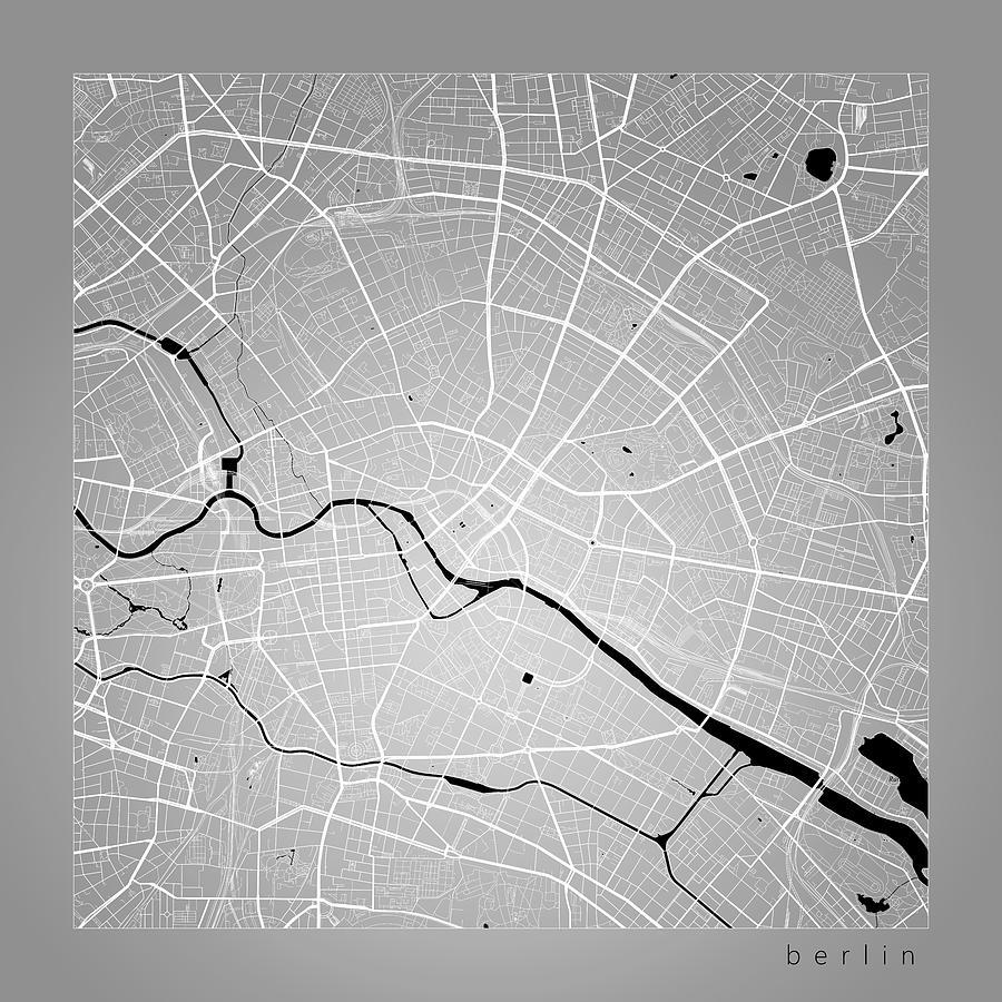 Berlin Street Map Berlin Germany Road Map Art On Color Digital Art