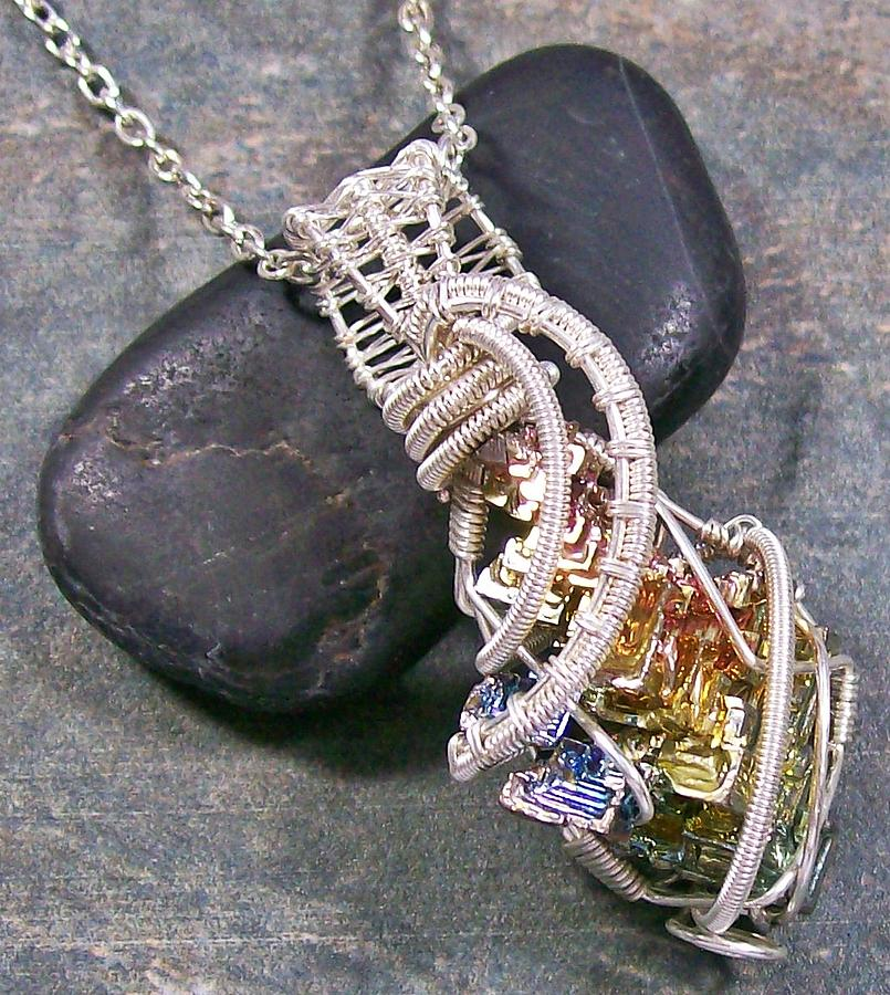 Silver Jewelry - Bismuth Crystal And Silver Wire-wrapped Pendant by Heather Jordan