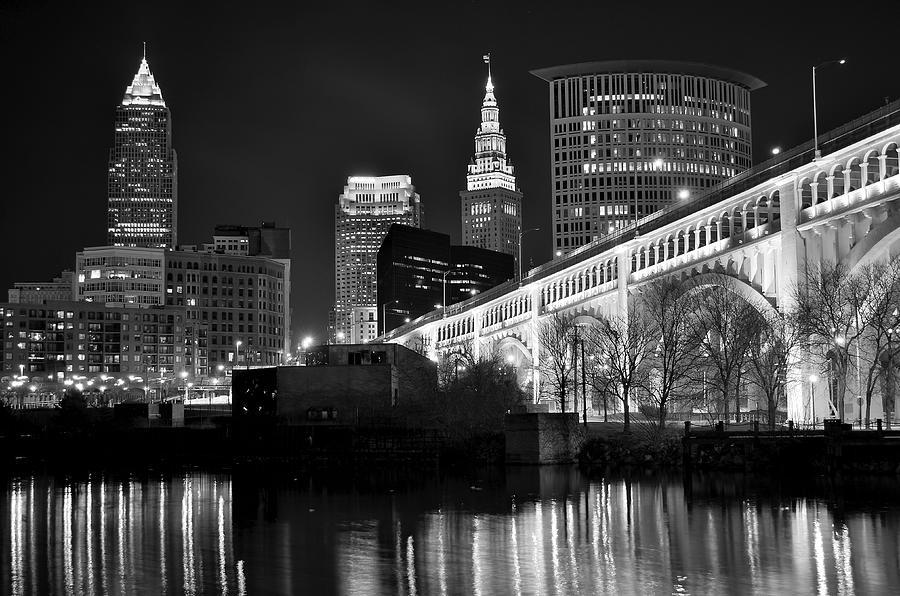 Black And White Cleveland Iconic Scene Photograph