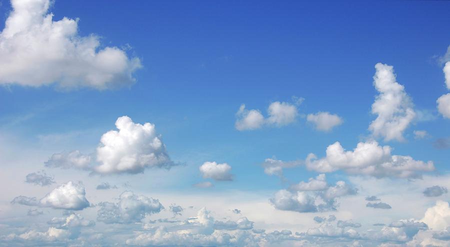 Blue Sky With Cumulus Clouds, Artwork Digital Art by Leonello Calvetti