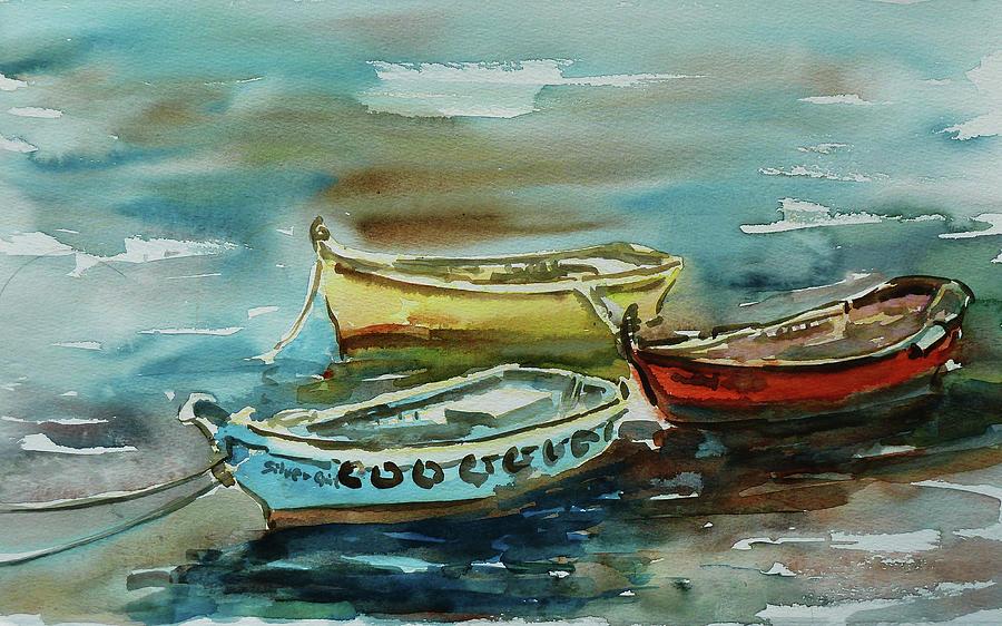 Boats Painting - 3 Boats II by Xueling Zou