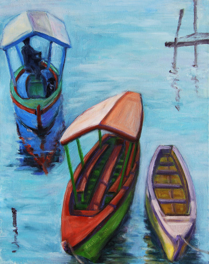 Landscape Painting - 3 Boats IIi by Xueling Zou
