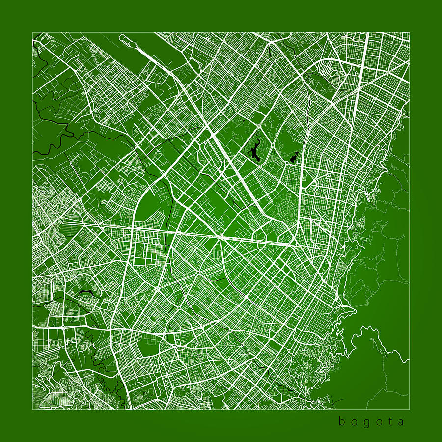Bogota Street Map - Bogota Colombia Road Map Art On Color