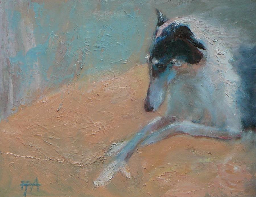 Animal Painting - SOLD Borzoi Waiting for Dusk by Irena  Jablonski