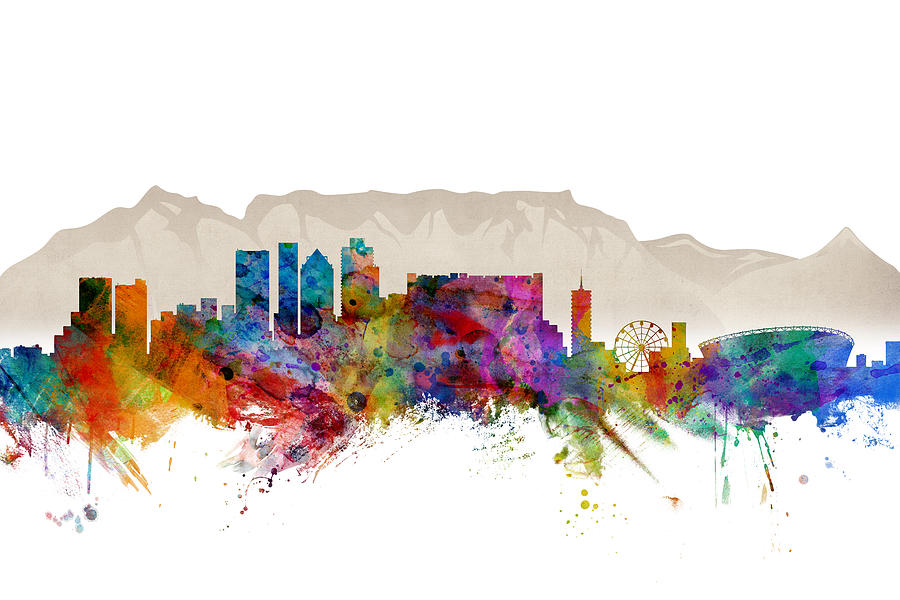 City Digital Art - Cape Town South Africa Skyline by Michael Tompsett